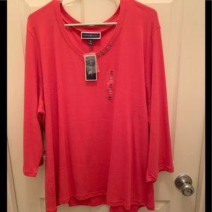NWT Plus Size Karen Scott 3/4 sleeve top. SZ 3X.